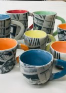 Mugs, Cups, Espresso cups with Brutalist print