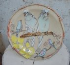 s/w large platter. blue budgies/yellow flowers