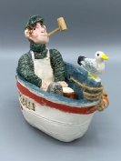 Earthenware Fisherman in a Boat